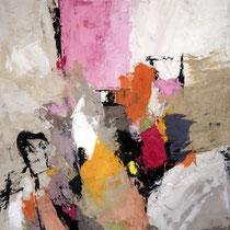 """Tableau Peinture Abstraite Contemporaine: """"Introspection"""" (50X61) © (Enduit de Chaux/ bois)"""