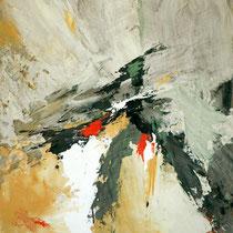 """Tableau Peinture Abstraite Contemporaine: """"Intuition"""" (38X46) © (Enduit de Chaux/ bois)"""