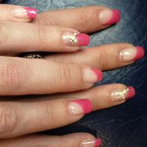 Uñas de Gel con decoración a la Francesa en Rosa