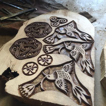 Carving place - wood slice - rural skill of India