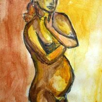 Schwangere Aquarell, Preis 80 Euro)