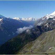 Augstbordhorn Mischabel, Lyskamm, Castor, Pollux, Breithorn, Kleines Matterhorn, Weisshorn Mattertal
