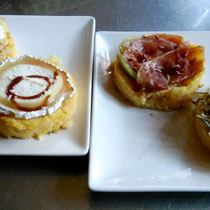 Timbales de jamón, queso de cabra,...