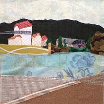 TEICHHAUS, Stoff-Bild von Ingrid Jackwerth, 50 x 50 cm, 600,- €