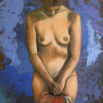 NUDO SU FONDO BLU  olio su tela  cm 50x70  anno 2006  - COLLEZIONE PRIVATA -