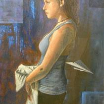 RAGAZZA CON NASTRO ROSSO  olio su tela  cm 50x70  anno 2011