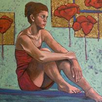 SENZA MASCHERA  olio su tela  cm 70x70  anno 2014