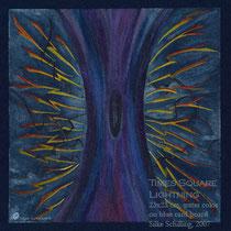 GEWITTER AM TIMES SQUARE, 23x23cm, Aquarellstifte auf blauem Karton, 2007 (nach einer Skizze von 2005)