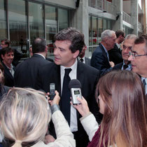 Arnaud Montebourg, en interview et Jean-Jack Queyranne - Lyon - Oct 2013 - Photo © Anik COUBLE