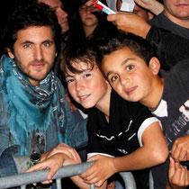 Michël Miro, Alan Badaoui-Couble et Marwan Boulaghlem, lors du Foot-Concert de Lyon, le 13/10/2012 © Anik COUBLE