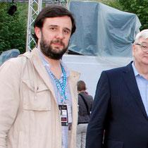 Vincent Carry, Directeur des Nuits Sonores et Joschka Fischer, ancien Vice-Chancelier et ancien Ministre des Affaires Etrangères d'Allemagne - Mai 2013 - Lyon © Anik COUBLE