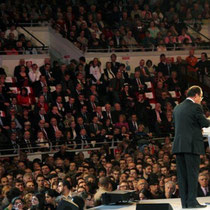 Francois Hollande, lors du meeting de Lyon / Photo : Anik Couble
