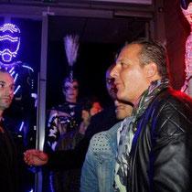"""Jean Roch et Ludovic, lors de la soirée d'inauguration du  restaurant """"Les Salins"""" à Lyon Confluence © Anik COUBLE"""