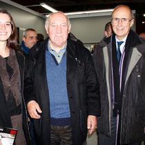 Raymond Depardon, entouré de Cindy Mollaret et de son grand-père, Jean-Noël Ressicaud, adjoint à la mairie de Lyon 2e