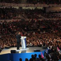 Francois Hollande, lors du meeting de Lyon / Photo : Anik Couble