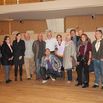 Jean Jouzel, Cynthia Fleury, entourés de l'atelier citoyen et de Lela Bencharif - Lyon - 0ctobre 2011  © Anik COUBLE