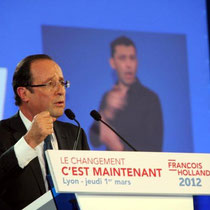 Francois Hollande lors du meeting de Lyon / Photo : Anik Couble