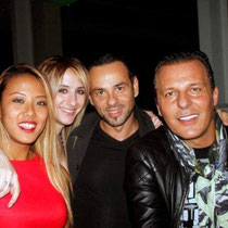 """Jean Roch, Anthony,Vanessa et une amie,  lors de la soirée d'inauguration du restaurant """"Les Salins"""",  à Lyon Confluence © Anik COUBLE"""