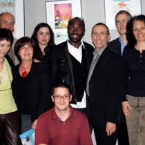 Lucien Jean-Baptiste et Jérémy Frenette, coordinateur du Festival,  entourés par le Jury  / Photo Anik Couble