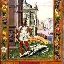 Splendor Solis, Figure X, La séparation du Corps par l'action du glaive de feu