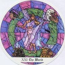 XXI Le Monde - Le tarot des Cloîtres