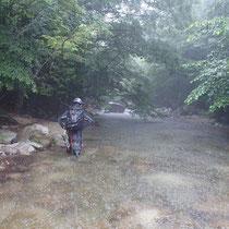 入渓地点に着いたとき雨が強くなってきた
