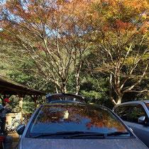 東屋がある駐車場所に置いていた車に戻ってきました