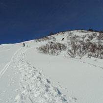 山スキーヤーとスノーシューのトレースです。その左、私のシュプールです。