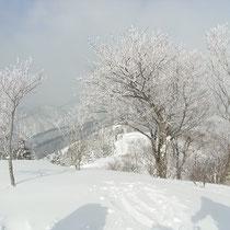 湧谷山山頂で、一時の晴れ間