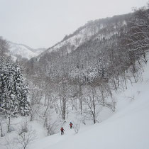 林道の終点から沢を徒渉。大雪でスノーブリッジあり問題なしです。