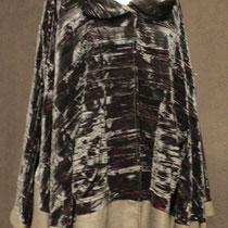 Veste longue coton et velours frappé noir
