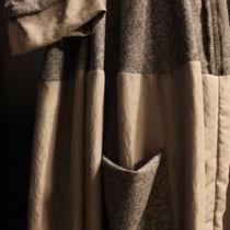 Robe polyester beige et laine mouchetée