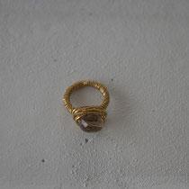 smokey quartz/brass ring