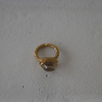smokey quartz/brass ring