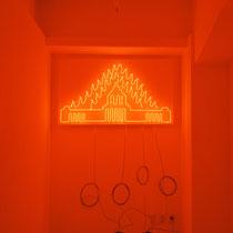 燃える国会議事堂/Burning Diet Building Neon tube,Plywood 2001