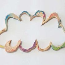 Morphology(Cloud No.1) H 24 × W 15 × D 2 cm Wood (Cypress),Acrylic paint,Acrylic gouache 2020