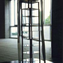 ちゃぶ台の上のちゃぶ台/Tea Tables on a Tea Table : Detail  Tea table,Stainless steel,Glass 2001