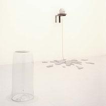 涙で出来た世界/A World Made Up of Tears (Photo on the left) Glass,Silver,Nylon thread,Vinyl acetate resin exhibit LIVE [laiv](Ginza/Tokyo) 2001