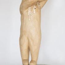 泣く子供の像/Statue of a Crying Kid H 85 × W 40 × D 25 cm Wood(Gingko),Pigment,Silver leaf,Drying oil,Borosilicate glass 2019