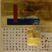 Notizie condivise (encausto, oro e plexiglas su tavola)