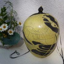 """Künstlerurne """"Soleil"""", Raku mit Balttgold, Irmgard Bausch Freiburg, verkauft"""
