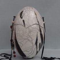 Urne Raku mit Perlendekoration
