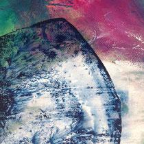 Beim Ablösen dickerer Farbschichten entstehen oft feine Muster, die man mit dem Pinsel so nicht malen kann.