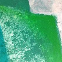 Auf den getrockneten transparenten Farbflächen kann weiter gearbeitet werden.