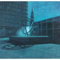 Brunnen/Ost-West-Straße, 110 x 120 cm, Öl auf Baumwolle, 2014