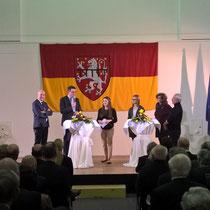 """Bei der Podiumsdiskussion zum Thema """"Familienfreundlichkeit"""" im Rahmen des städtischen Neujahrsempfangs 2016"""