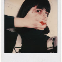 "RENATE KORDON, polaroid selfie, taken during the shooting of ""Buntes Blut"", 1985"