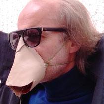 BERNHARD GRASCHITZ, Maske Nasenschnauzer, 2020, Leder gerollt, genäht