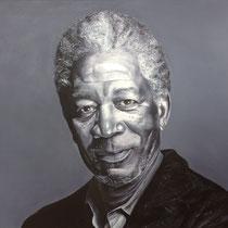 Portrait `Morgan Freeman´ Malerei auf Leinwand 100x120cm - verfügbar