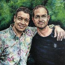 Portrait `Ölmalerei mit Fingern` auf Leinwand 100x100cm - Auftragsarbeit